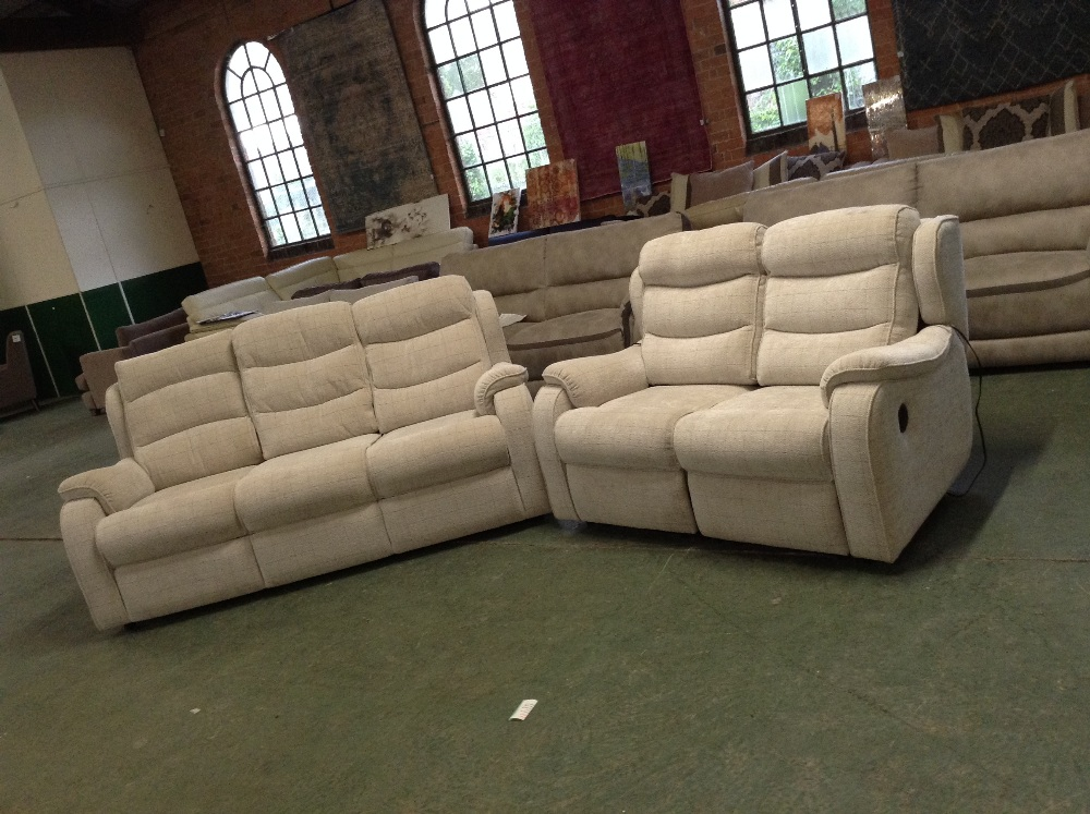 Lot 43 - NATURAL CHECKERED HIGH BACK 3 SEATER SOFA AND ELEC