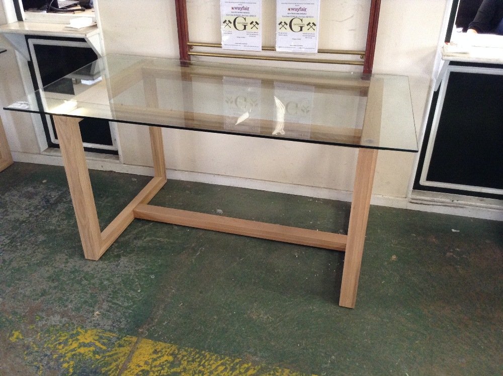 Lot 114 - HADLEIGH DINING - 160/85 GLASS TOP DINING TABLE (W
