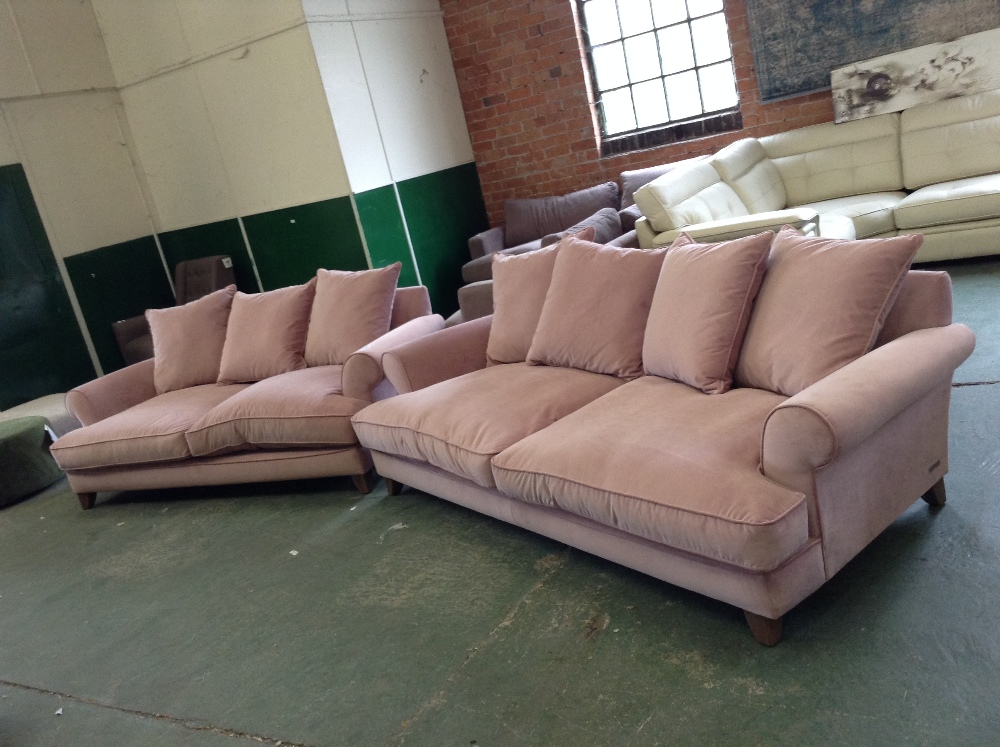 Lot 89 - PINK LARGE 3 SEATER SOFA AND 2 AND HALF SEATER SOF