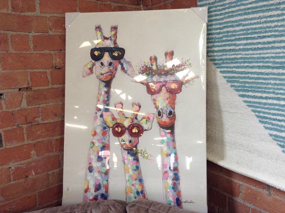 Lot 8 - Latitude Vive Giraffes Morning Wall Art on Canvas