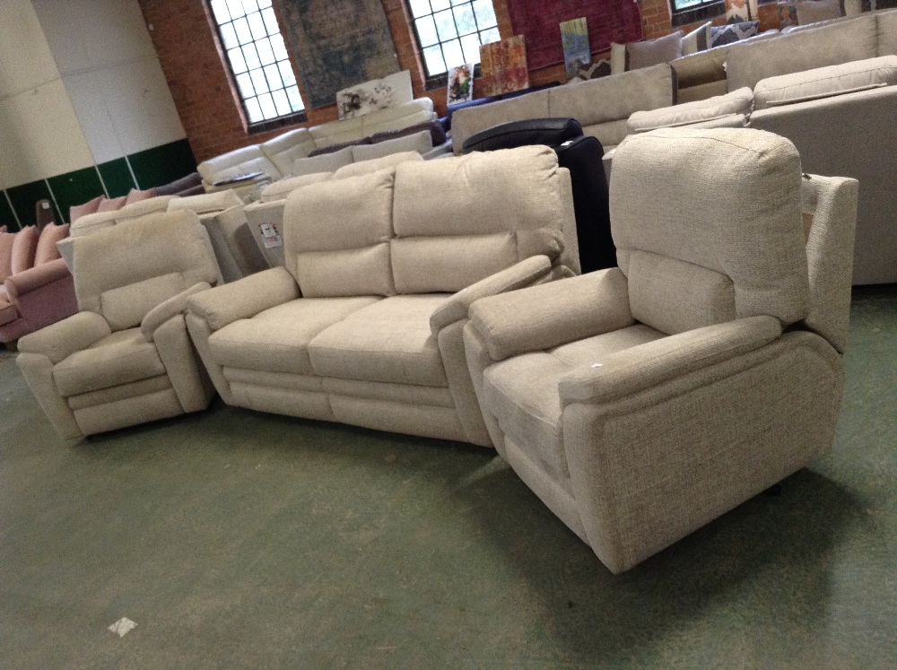 Lot 54 - BISCUIT HIGH BACK 3 SEATER SOFA AND 2 X ELECTRIC R
