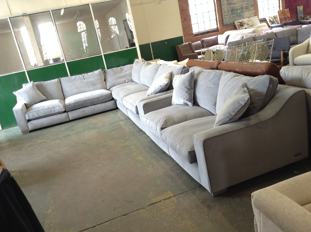 Lot 104 - IMOGEN GREY 5 PART CORNER GROUP AND 3 SEATER SOFA