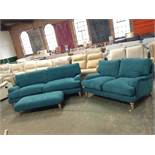 TEAL LARGE 3 SEATER SOFA 2 SEATER SOFA AND FOOTSTO
