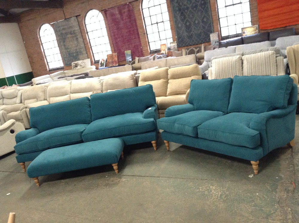 Lot 57 - TEAL LARGE 3 SEATER SOFA 2 SEATER SOFA AND FOOTSTO