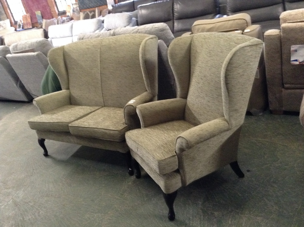 Lot 50 - GREEN HIGH BACK 2 SEATER SOFA AND WING CHAIR (TROO