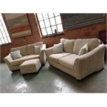 BEIGE 3 SEATER SOFA 2 SEATER SOFA AND STORAGE FOOT