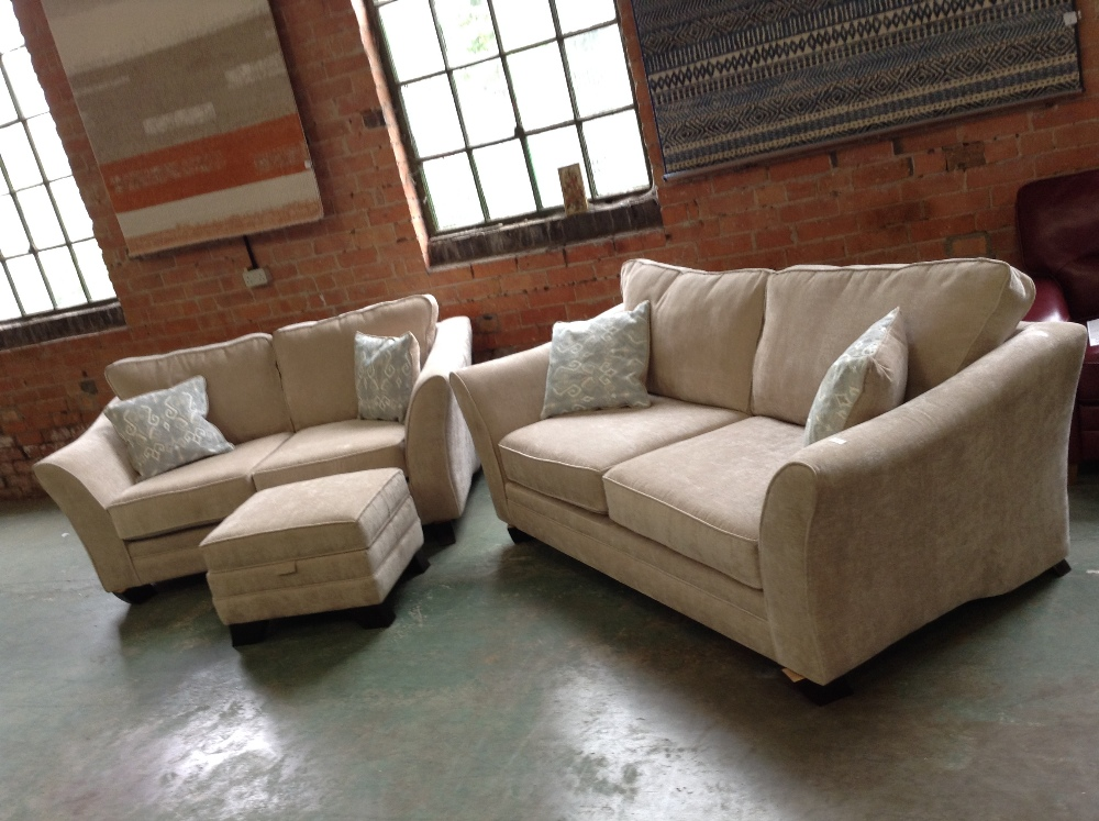Lot 11 - BEIGE 3 SEATER SOFA 2 SEATER SOFA AND STORAGE FOOT