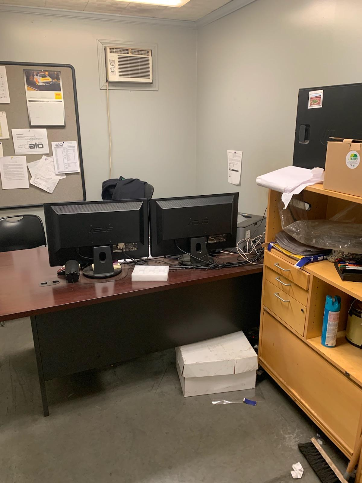 Lot 219C - CONTENTS OF OFFICE; DESK, (2) CHAIRS, AND (2) CABINETS