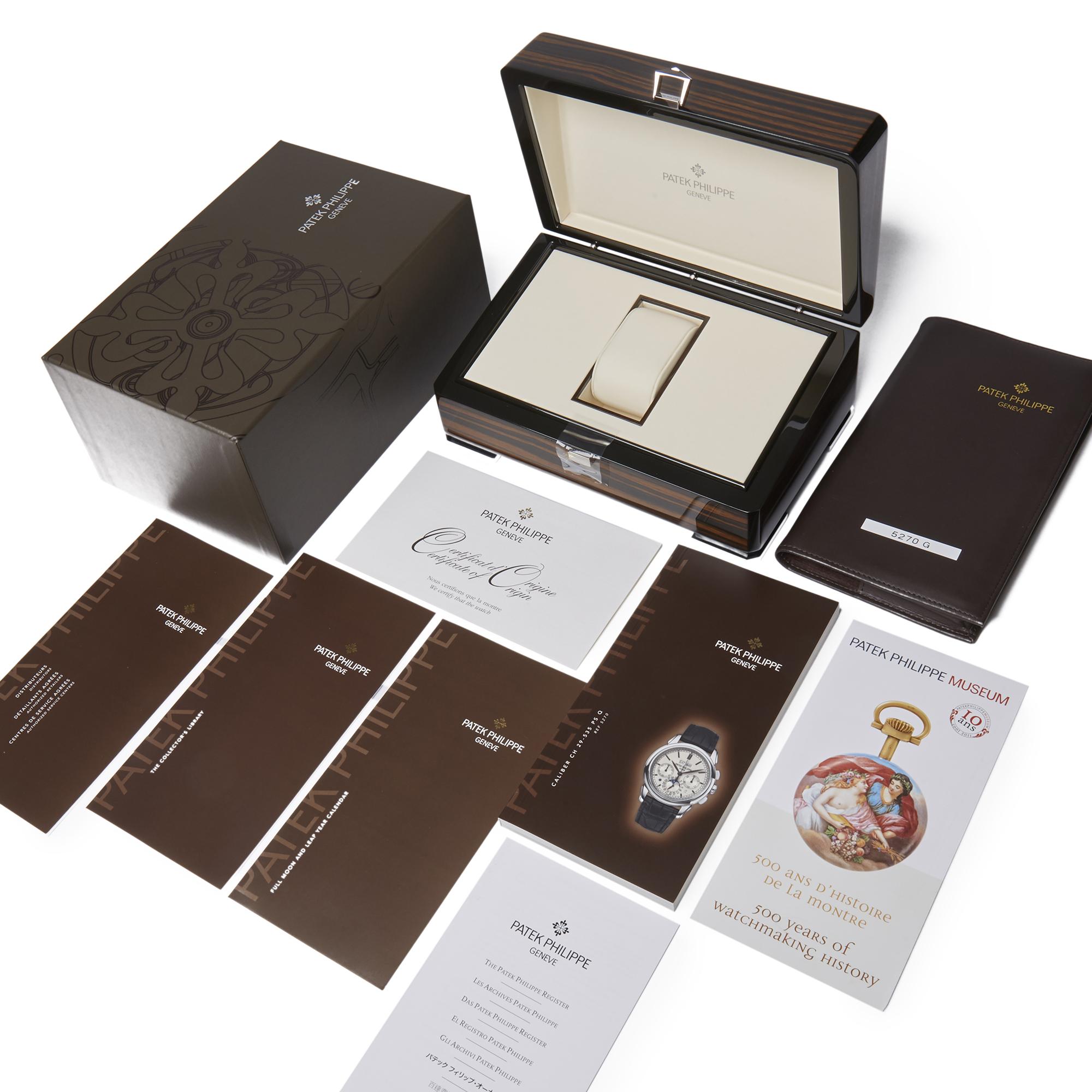 Lot 5 - Patek Philippe Perpetual Calendar Perpetual Calendar Chronograph 18k White Gold - 5270G-001