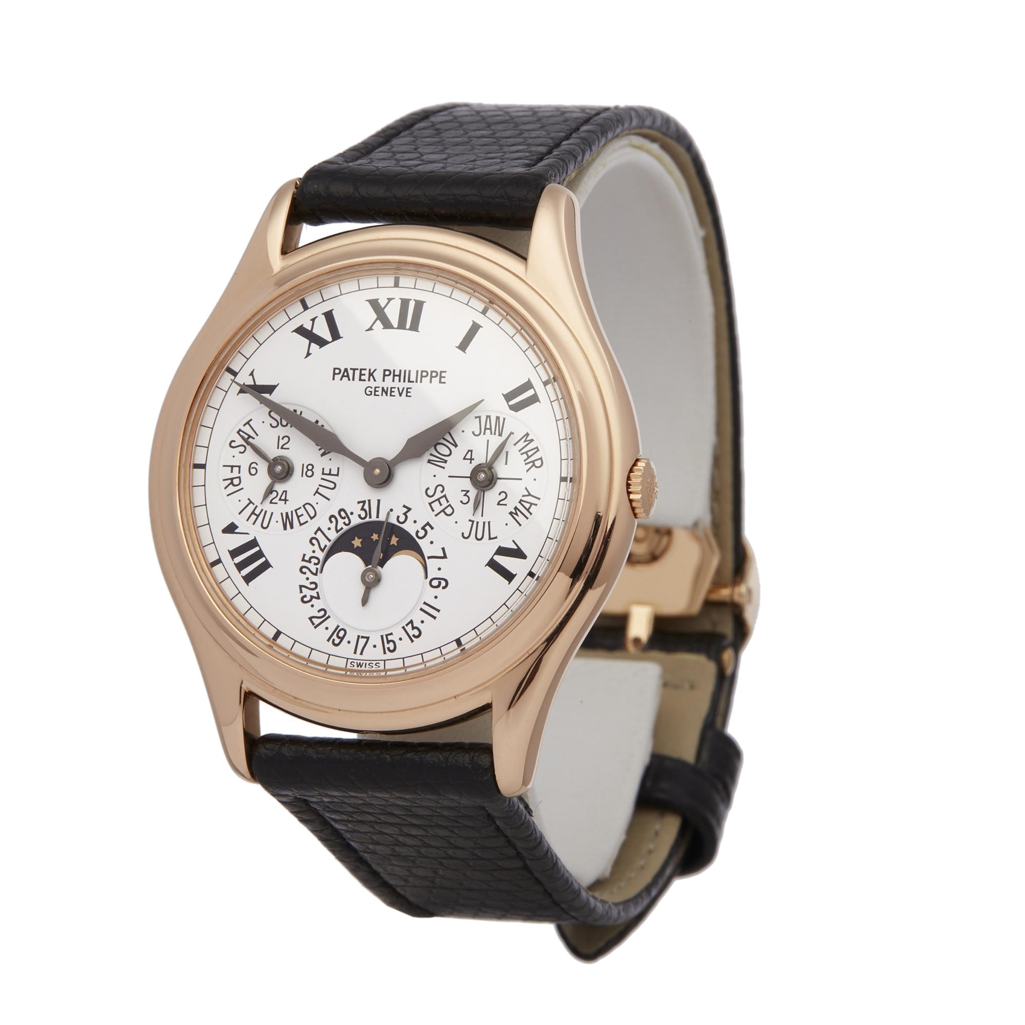 Lot 13 - Patek Philippe Perpetual Calendar Porcelain Dial 18k Rose Gold - 3940
