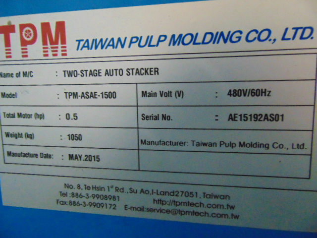 TWO-STAGE AUTO STACKER, TAIWAN PULP MOLDING MDL. TPN-ASAE-1500, 5 HP. conveyor & controls, S/N - Image 3 of 3