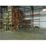 "LOT OF PALLET RACKING SECTIONS (10), tear drop, 17' ht. x 96"" W. x 42"" dp., (no cardboard)"