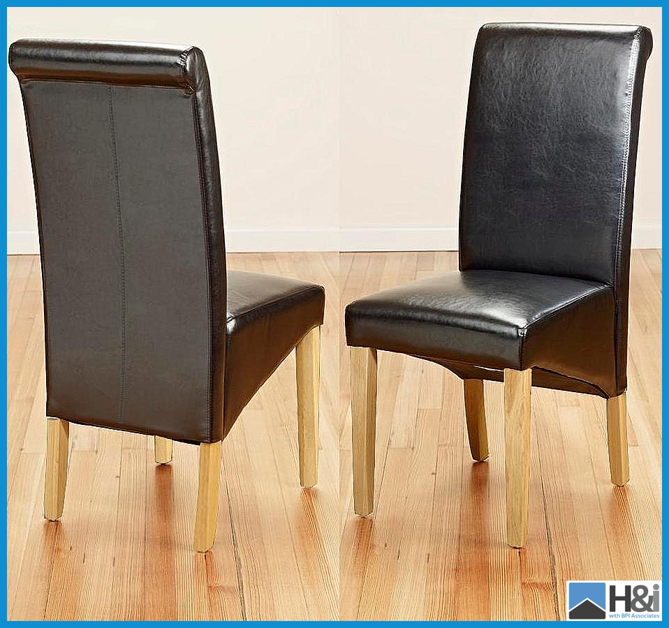 1 Pair Of Brown Leather Scroll Back Dining Chairs With