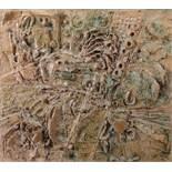Keramikrelief Wohl Skandinavien, 2. Hälfte 20. Jh., Keramik, mit tlw. mattierender, tlw. an Asche