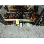 LOT CONSISTING OF: hand tools & misc., assorted (under four benches)