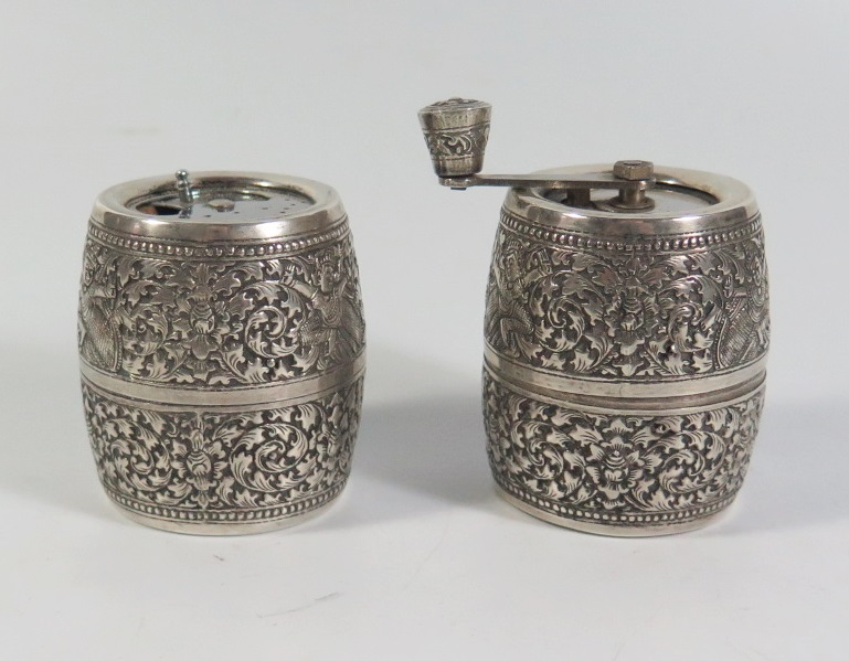 Lot 2 - A Cambodian Silver Pepper and Salt