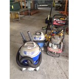 LOT CONSISTING OF: shop vacuums & Honda 4.5 2,200 PSI pressure washer