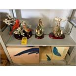 BIRD FIGURINES WITH WOOD STANDS - 10'' / 11'' / 13'' (NEW IN BOX)