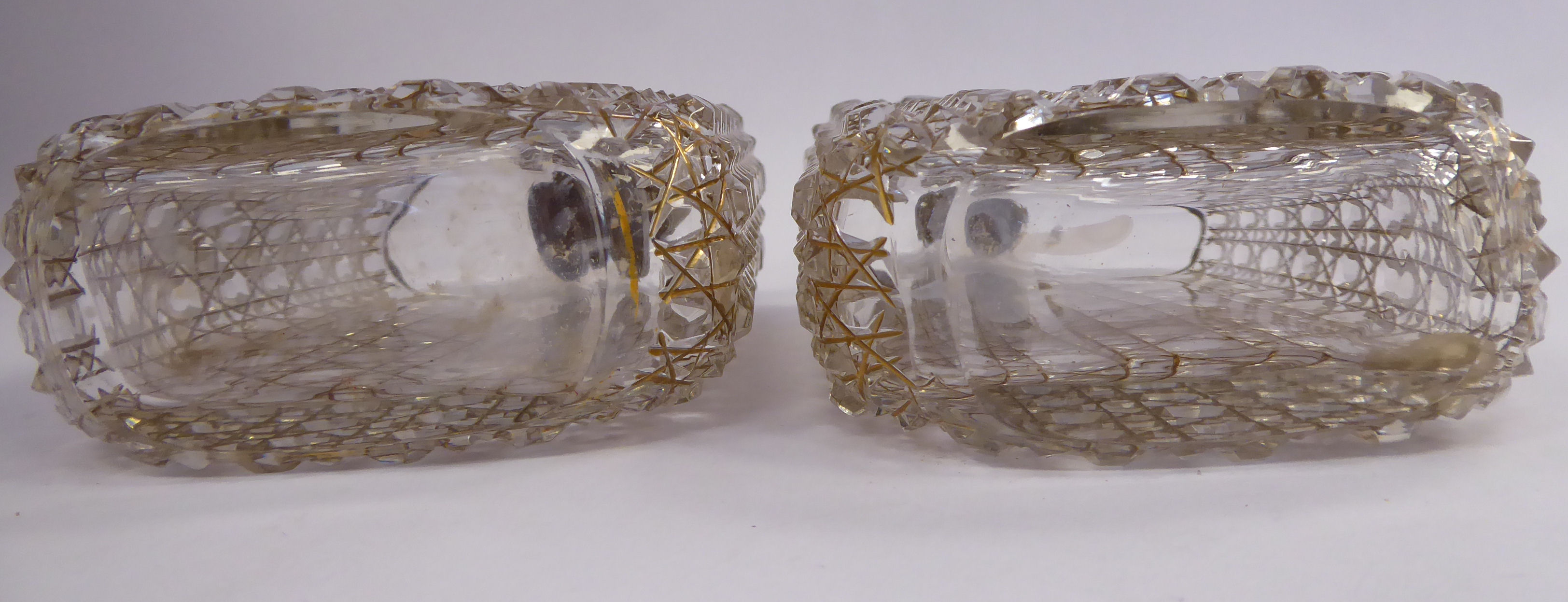 Lot 19 - A pair of mid 19thC uniformly hobnail, line-cut and gilded,