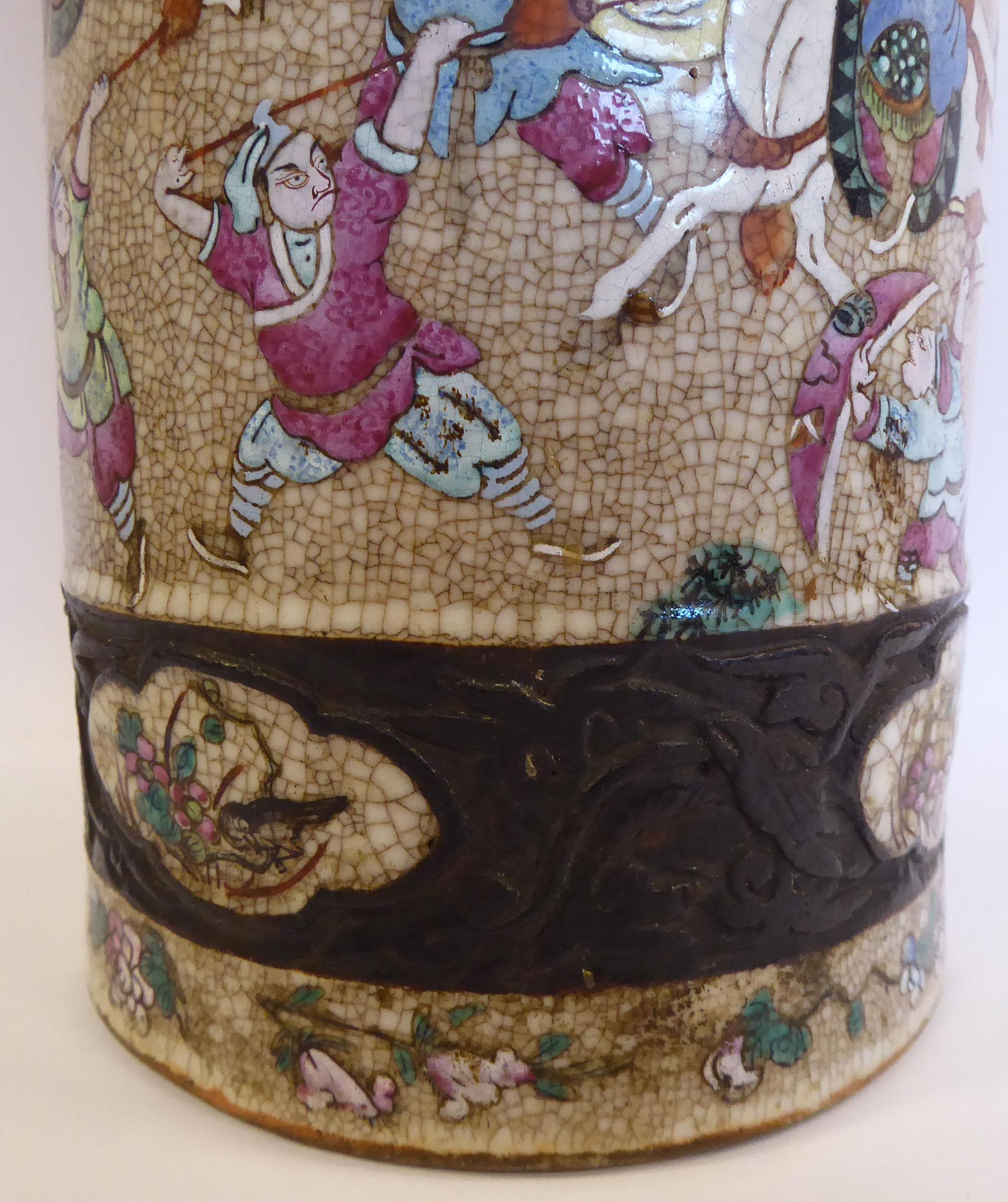 Lot 9 - A 19thC Chinese crackle glazed porcelain cylindrical vase,