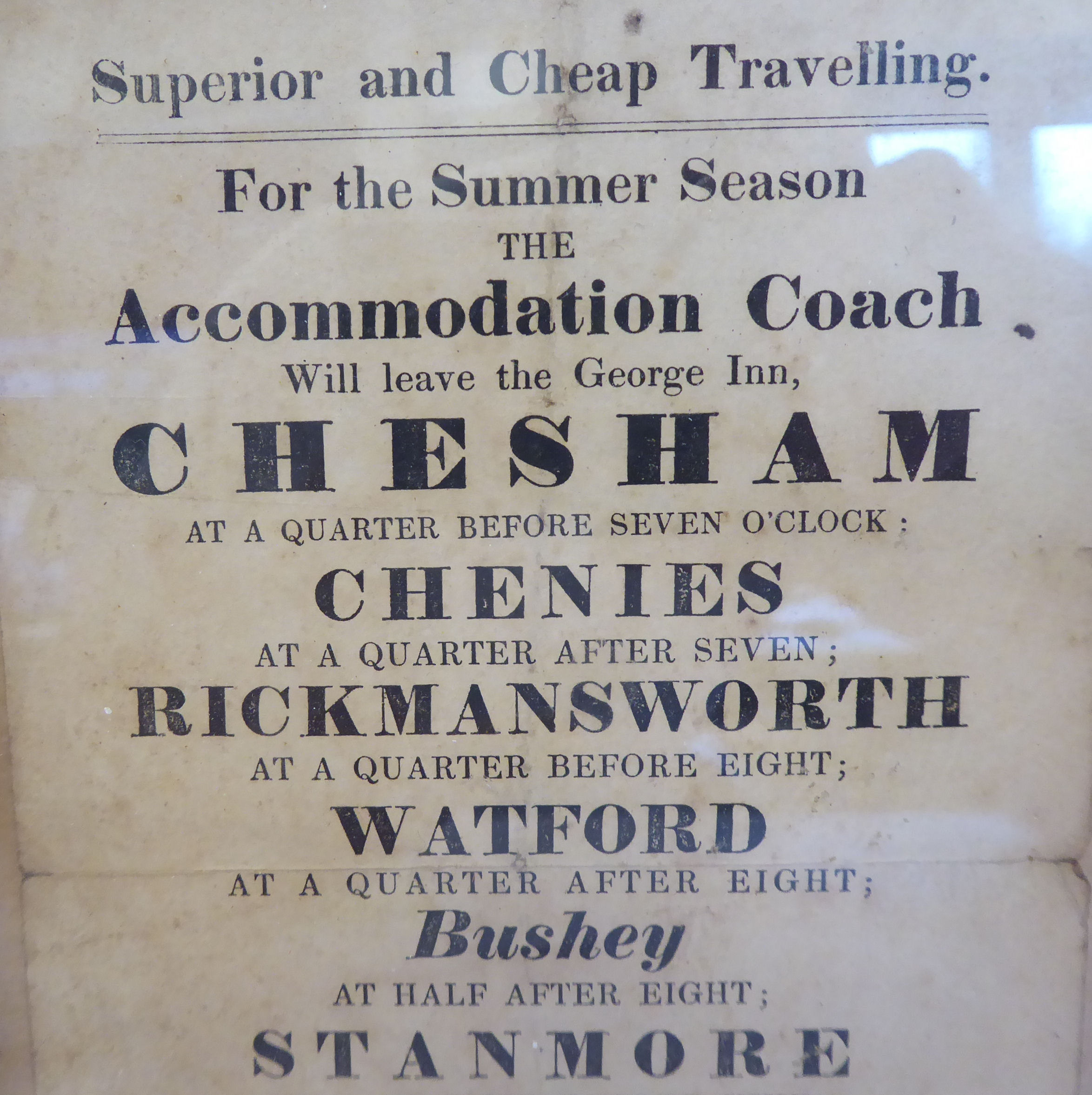 Lot 40 - An early Victorian printed 'flyer' advertising Superior and Cheap Travelling,