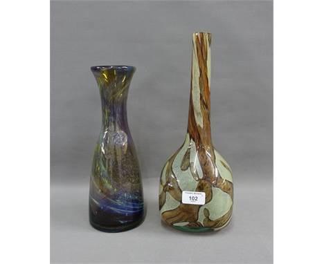 Mdina art glass carafe style vase and an art glass vase, tallest 35cm (2)
