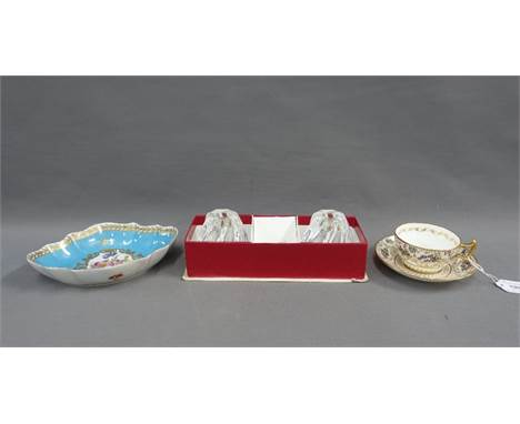 Mixed lot to include a pair of Baccarat glass candlesticks, boxed (one with a chip to the base) together with a Porcelaine Ro
