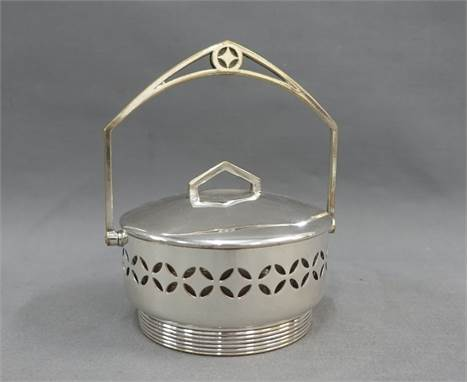 WMF Epns and glass dish with a swing handle, 12cm diameter