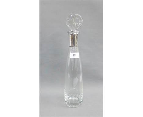 Danish clear glass decanter and stopper of Modernist form, with a Sterling silver collar by E. Dragsted, 37cm high