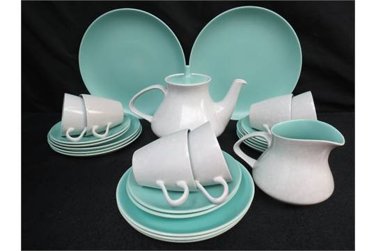 A retro Poole pottery tea set in duck egg blue with 6 cups six saucers a milk jug 9 tea plates & A retro Poole pottery tea set in duck egg blue with 6 cups six ...