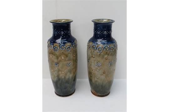 Two Royal Doulton Vases With Blue And Green Ground Coloursstamped
