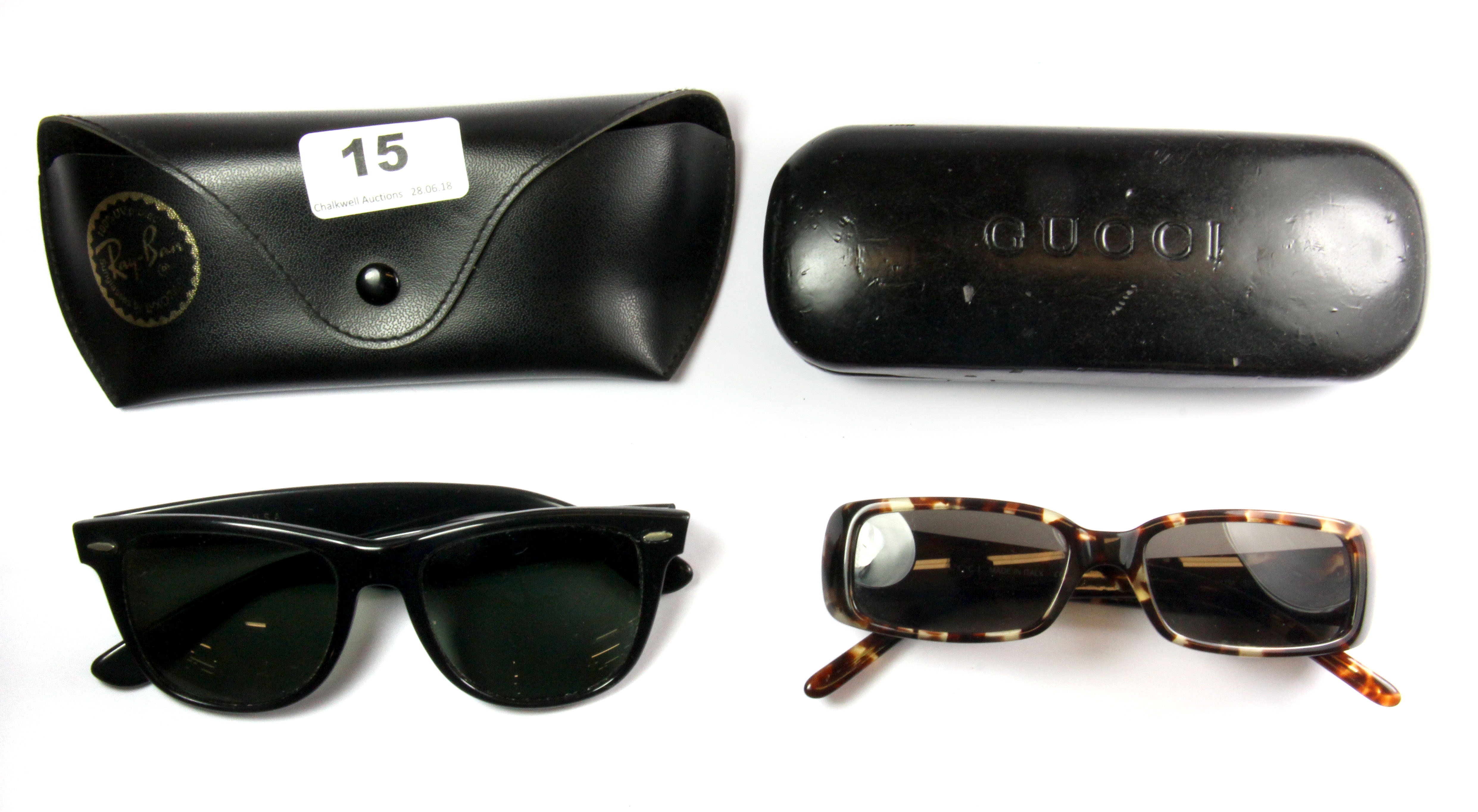 330112fc4ffab Lot 15 - A pair of vintage Ray Ban sunglasses and a pair of vintage Gucci  ...