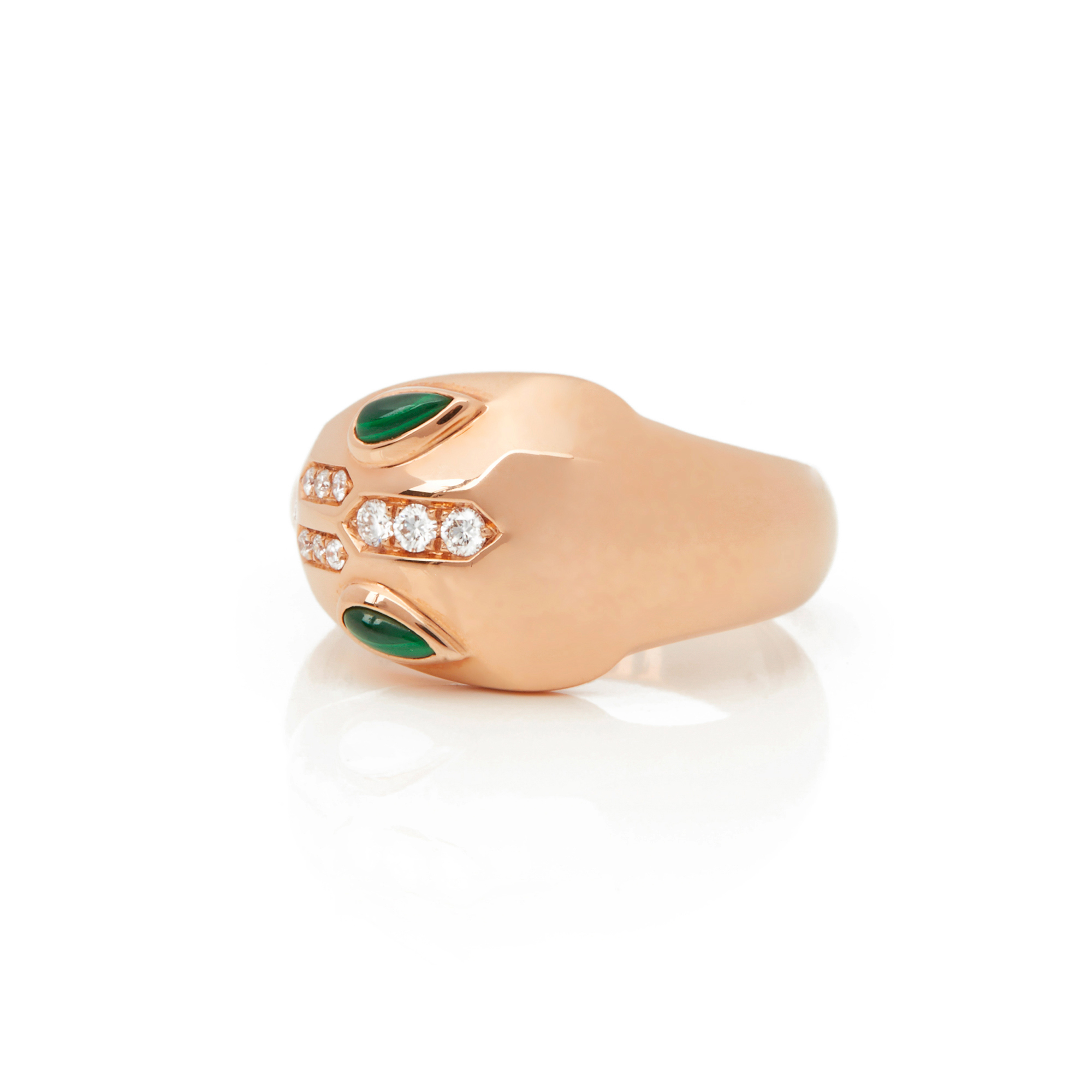 18k Rose Gold Diamond & Malachite Serpenti Ring - Image 10 of 10
