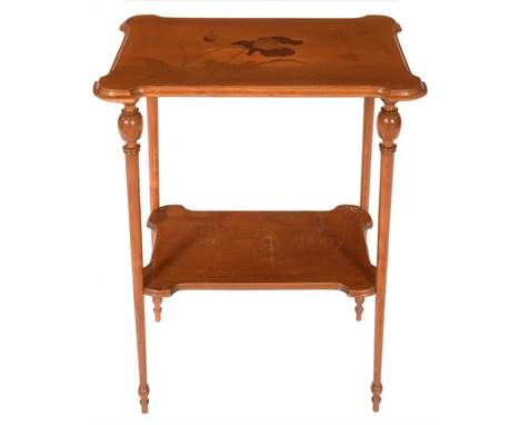 A GALLE MARQUETRY TABLE, C1900, THE MOULDED OBLONG TOP WITH OUTSET CORNERS AND DECORATED WITH POPPIES, ON TURNED LEGS WITH UN