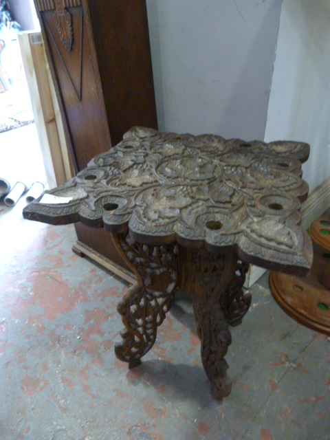 Lot 57 - Small Carved Indian Folding Table
