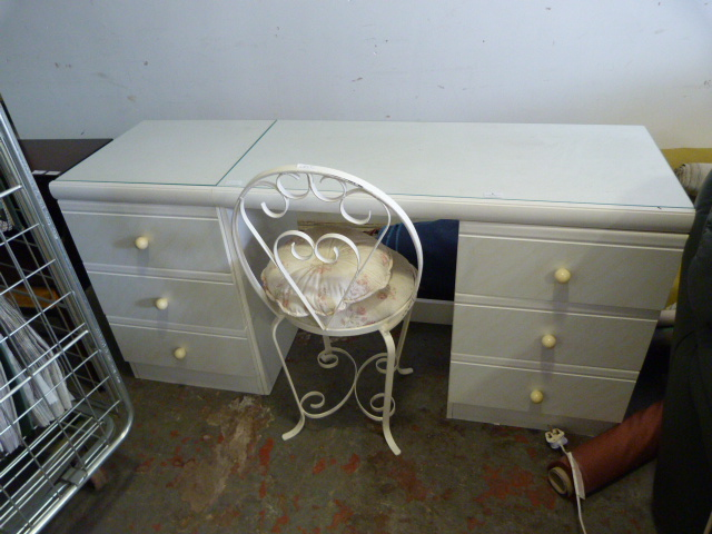 Lot 2 - Six Drawer Glass Topped White Dressing Table with