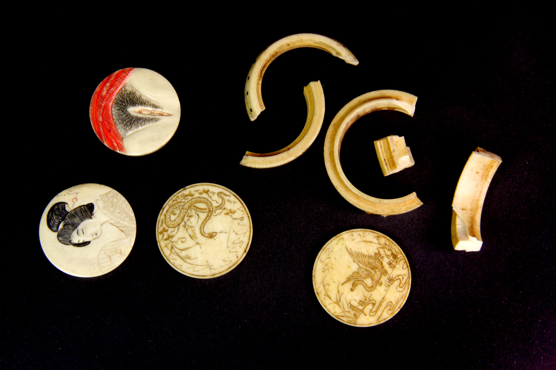 Two Interesting 19th Century Japanese Carved Bone Ivory Erotic Discs Together With Two Engraved B