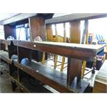 """STAINED WOOD BENCH WITH BACK PANEL, HAVING METAL FRAME SUPPORTS 60"""" (152.4cm) long, 33"""" (83.8cm)"""
