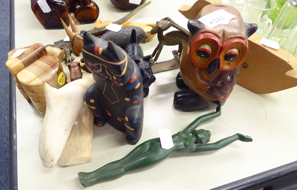 Lot 343 - QUANTITY OF SCULPTURAL MODELS OF ANIMALS AND A BRONZE NUDE FEMALE FIGURE, AND A BRASS CROCODILE