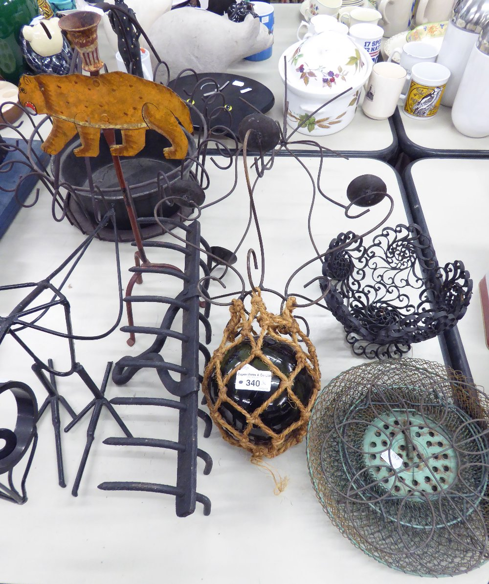 Lot 340 - A METAL WIRE PATTERN LIGHT CHANDELIER FOR PACKET CANDLES, WITH A PENDANT GREEN GLASS FISHING