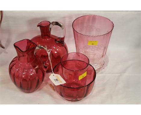 Five pieces of Cranberry glass, shade, 2 jugs, tumbler and bowl