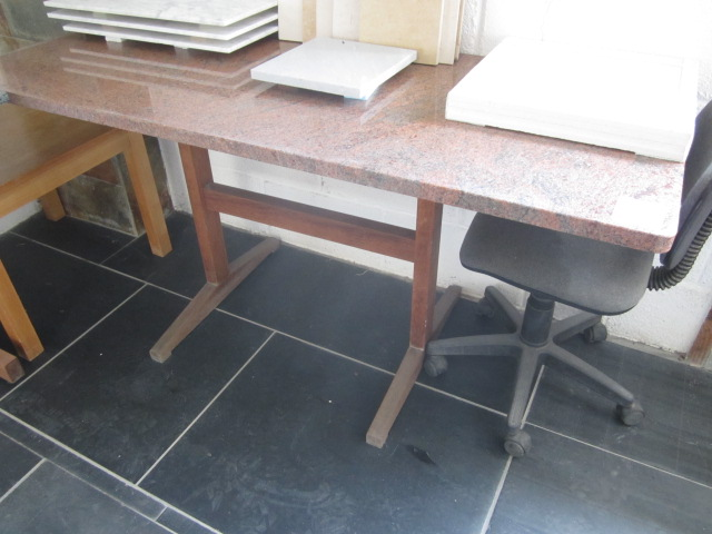 Lot 56 - Marble top table, approx. size 1600mm x 650mm