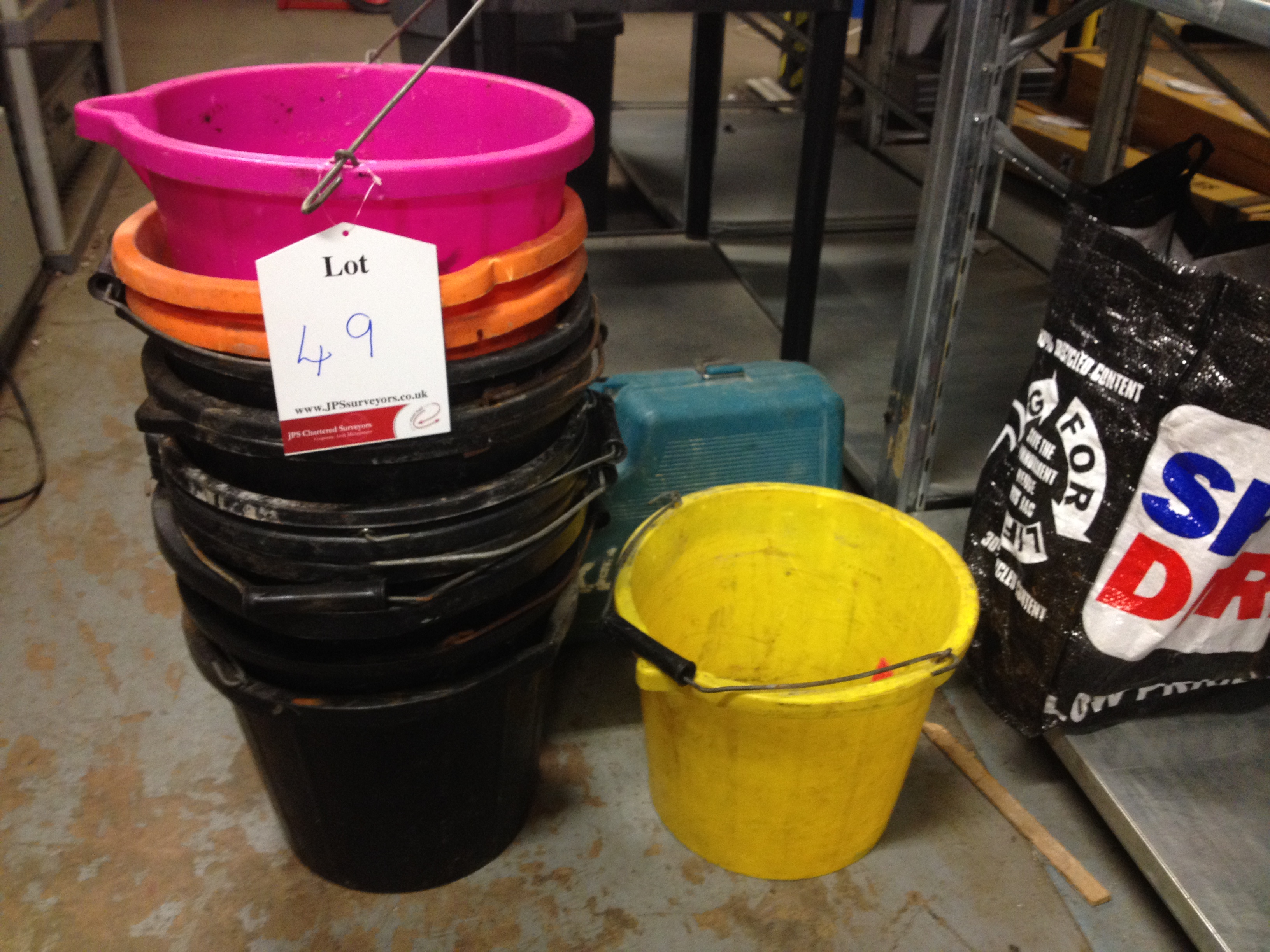 13 x Various Buckets, 1 x Drill Case