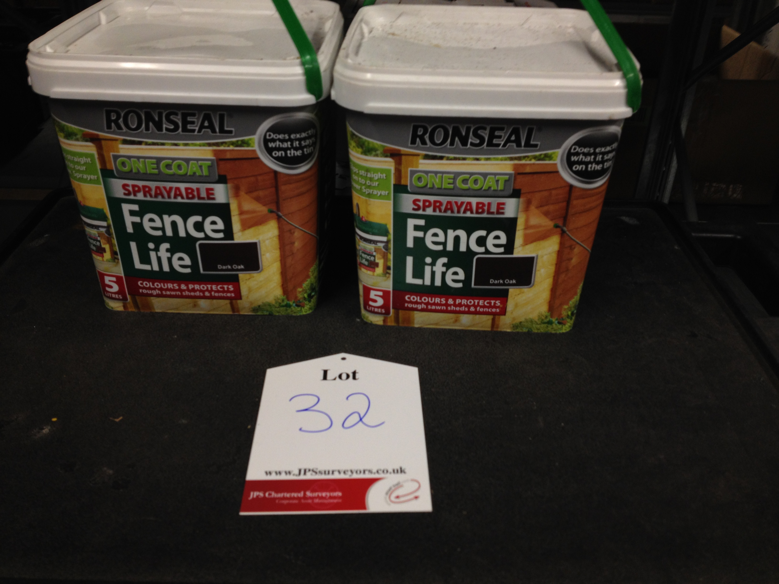 2 X 5 Litres of Ronseal one coat sprayable fence life paint. Colour - Dark Oak - Image 2 of 4