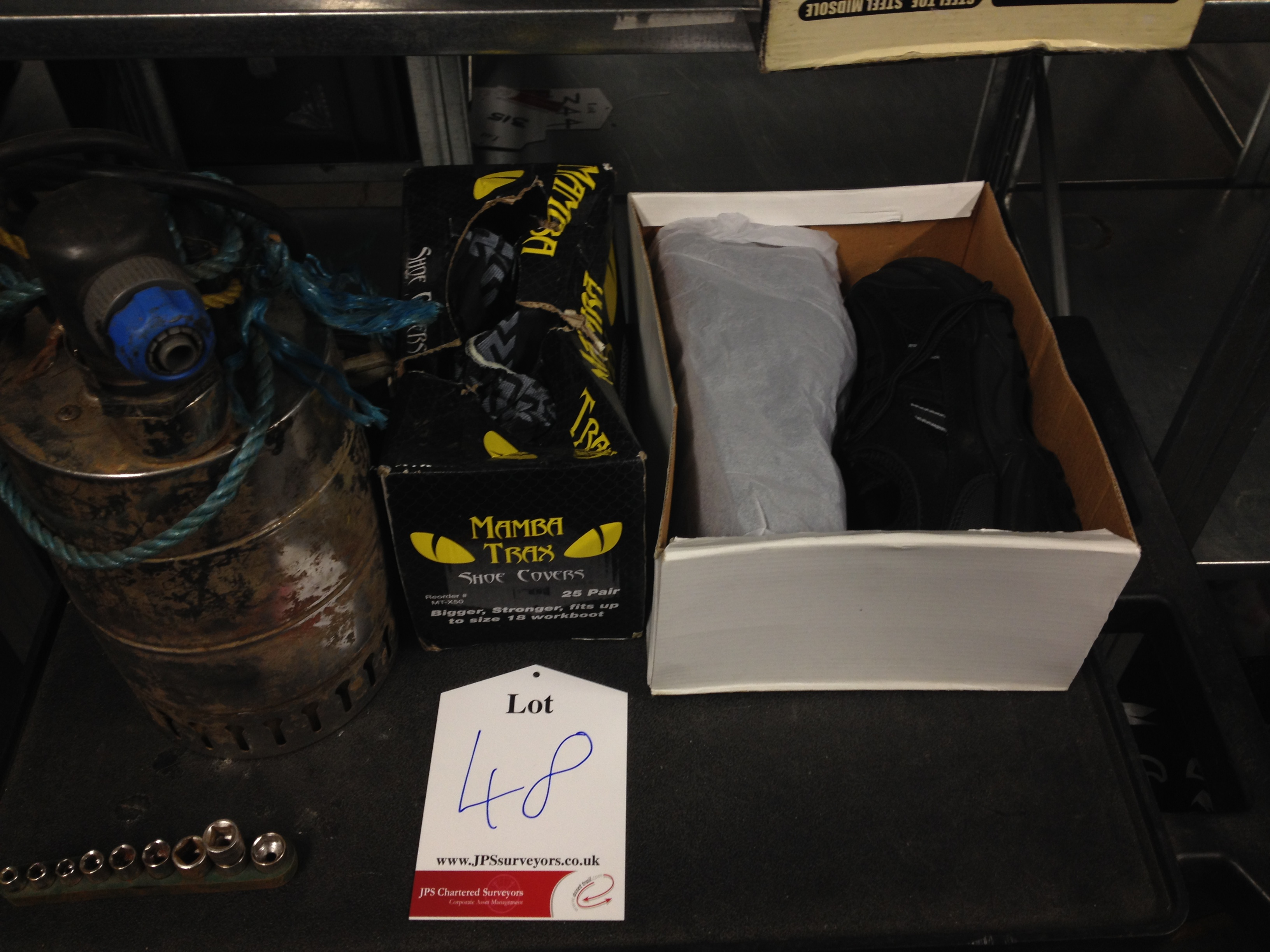 1 x Pair of Apache Industrial Steel Toe Cap Boots (Size 6), 1 x Box of Shoe Covers