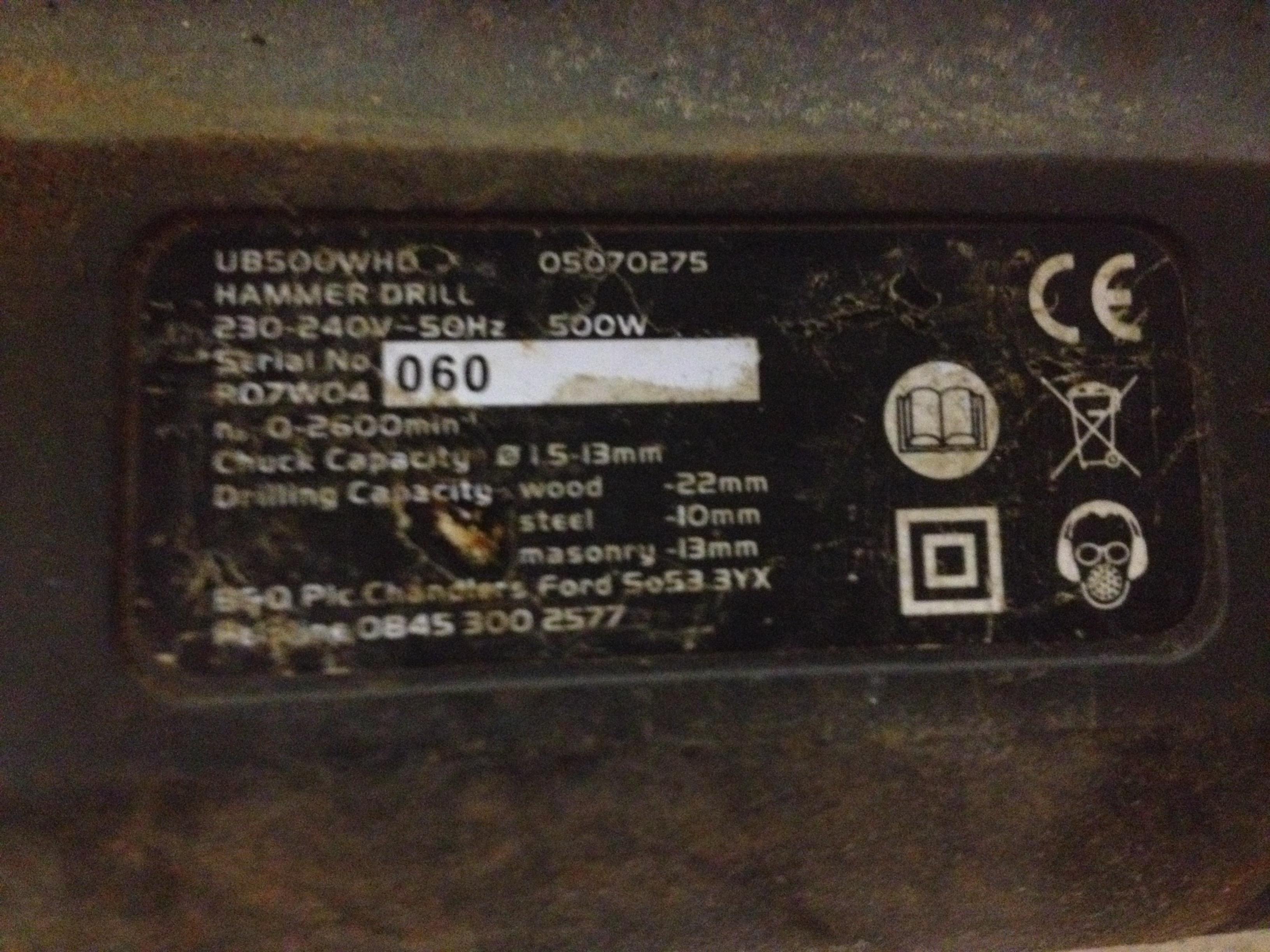1 x B&Q Hammer Drill 500w - Image 2 of 2
