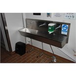 Stainless steel three station knee operated sink