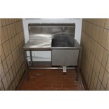Stainless steel single basin sink with wash down and left hand drainer 1250mm