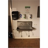 Stainless steel twin station knee operated sink with soap and towel dispenser