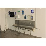 Stainless steel four station knee operated sink with soap and towel dispenser